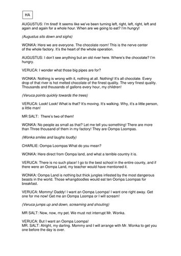 Charlie And The Chocolate Factory Children S Play Script