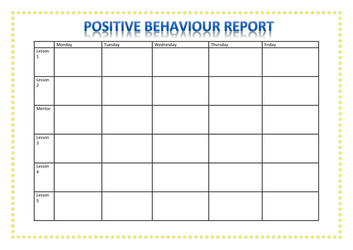 Positive Behaviour Report by A88i - Teaching Resources - Tes