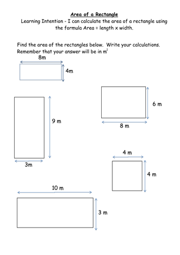 Area Worksheets Rectangles And Composite Shape By