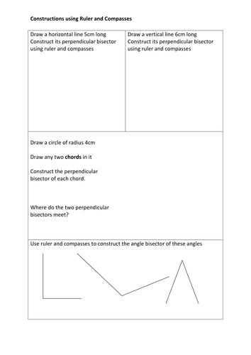 Bisecting lines and angles