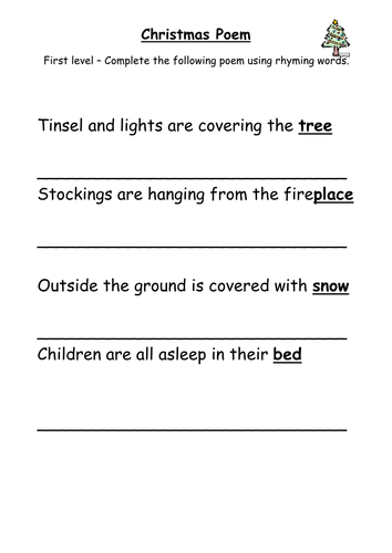 Rhyming Christmas Poem by MrsHutchison | Teaching Resources