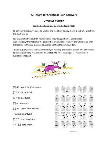 all i want for christmas is an aardvark song by juliag888 teaching resources tes - All I Want For Christmas Song