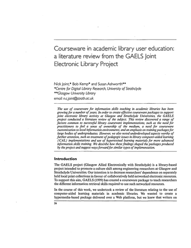 Courseware in academic library user education by