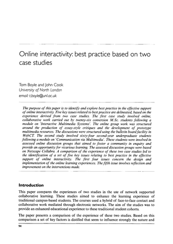 Online interactivity: best practice