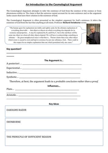Cosmological Argument Worksheet