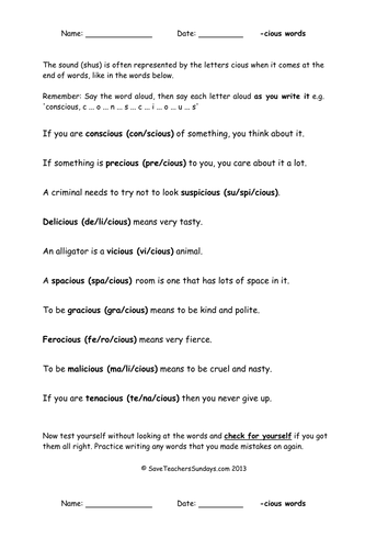 Year 6 Spellings Words Lists - New Curriculum