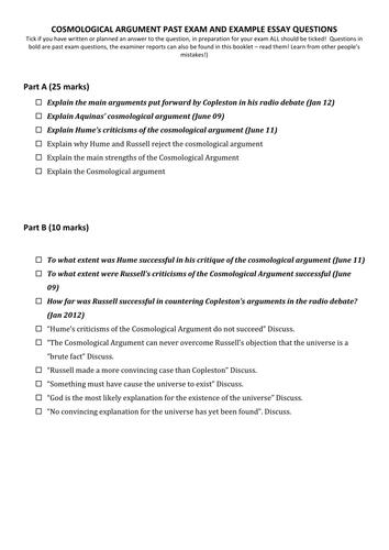 Cosmological Argument Past Exam Questions List By Victoriaanne  Cosmological Argument Past Exam Questions List By Victoriaanne  Teaching  Resources  Tes