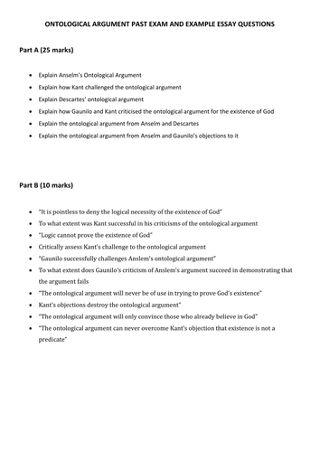 Essays On English Literature Ontological Argument Past Exam Questions List By Victoriaanne  Teaching  Resources  Tes What Is A Thesis Statement For An Essay also Proposal Essay Outline Ontological Argument Past Exam Questions List By Victoriaanne  Business Essay Writing