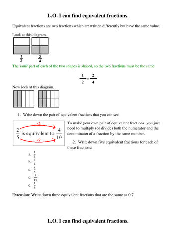 Equivalent fractions worksheets by PeterTAEdwards - Teaching ...
