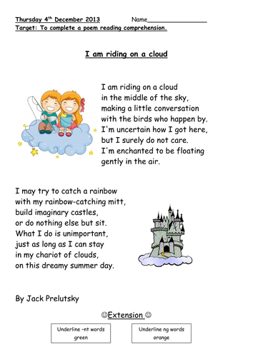 floating on a cloud poem comprehension by pandapop25 teaching resources. Black Bedroom Furniture Sets. Home Design Ideas