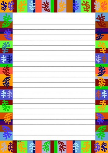 Coral Reef Themed Lined paper and Pageborders