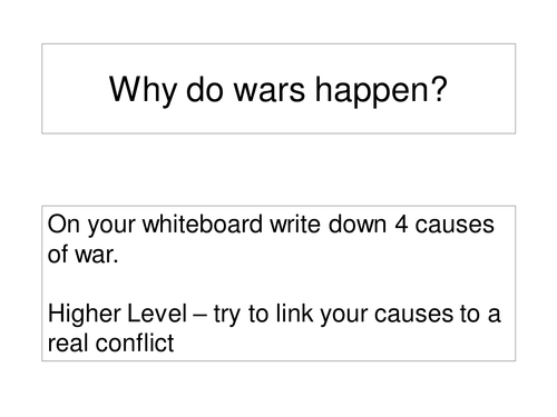 Why wars occur