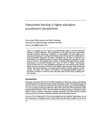 Networked learning in higher education:perspective