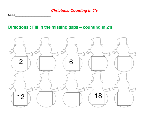 Christmas Counting In 2s Worksheet By Dondon5 Teaching Resources