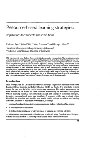 Resource-based learning strategies: implications