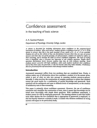 Confidence assessment in teaching basic science