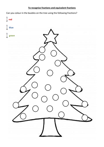 Worksheets Christmas Fractions christmas tree fraction problems by mattbeighton teaching resources tes