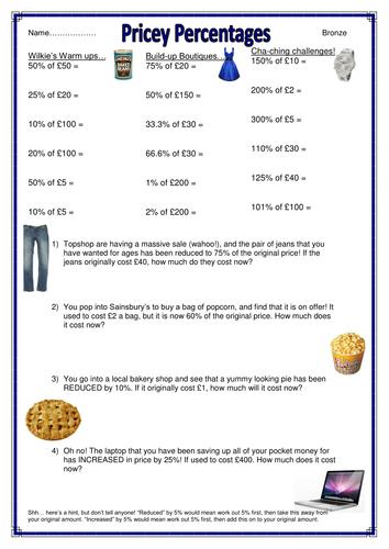 Percentages - Booklet of Worksheets by sugarcandie - Teaching ...