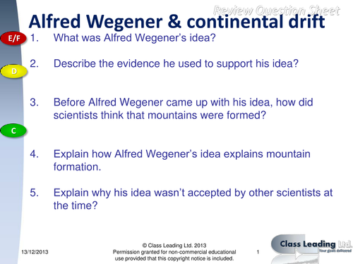 Alfred Wegener Continental Drift questions by classleading – Continental Drift Worksheet