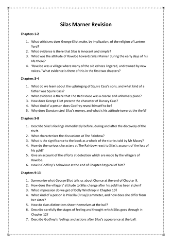 silas marner revision by misshkwilson teaching resources tes