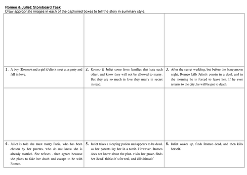 Romeo Juliet Storyboard Task by cazzwebbo Teaching Resources – Romeo and Juliet Prologue Worksheet