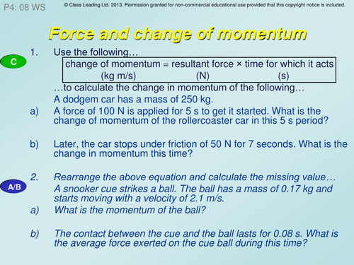 Force & Change of momentum - graded questions
