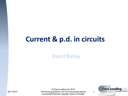 Current & p.d. in circuits