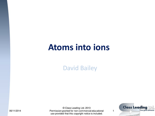 Atoms into ions - graded questions
