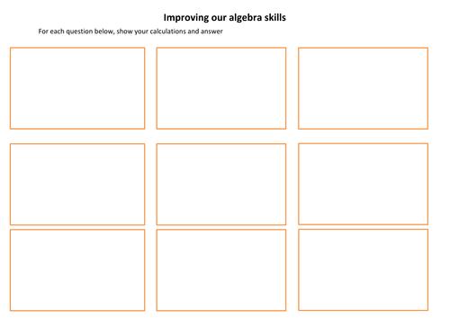 algebra skills template