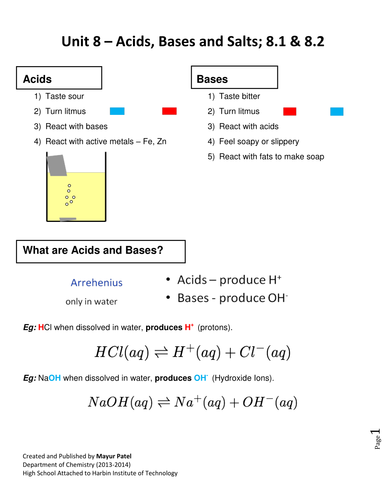IGCSE Chemistry Unit 8 Acids & Bases by mayurbuddy | Teaching Resources