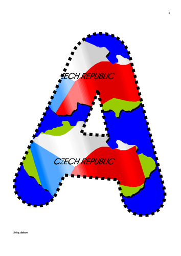 Czech Republic Flag Themed Alphabets and Numbers