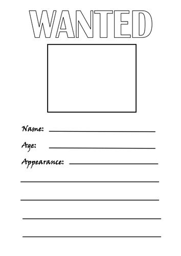 Differentiated 'Wanted' Poster Worksheets
