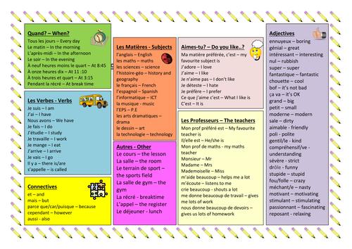 KS3 French: School - Vocabulary Sheet