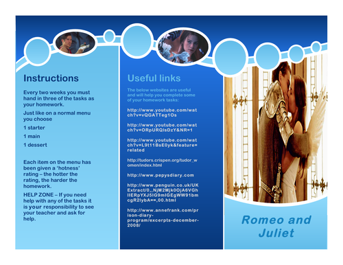 Romeo and Juliet Homework Menu