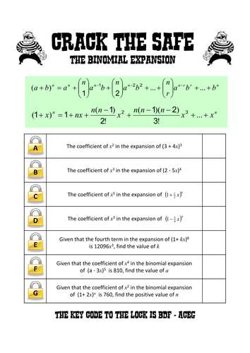 Binomial expansion lock game by danwalker - Teaching Resources - Tes