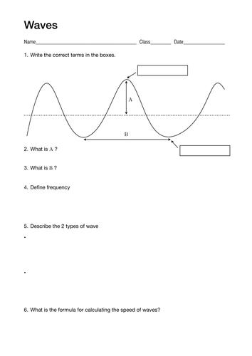 Simple Wave Worksheet By Lukemorton Teaching Resources Tes
