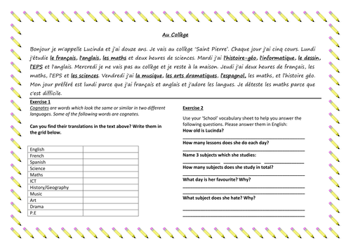 KS3 French: School Subjects Reading Comp