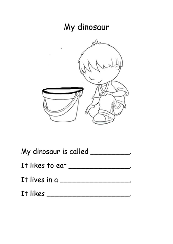 Harry and the dinosaurs writing activity for Rec by