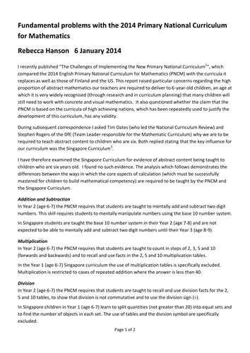 Fundamental Problems 2014 Primary Curriclulum