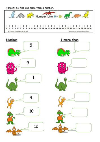 Editable 1 more than worksheets with Dinosaurs by PandaPop25 ...
