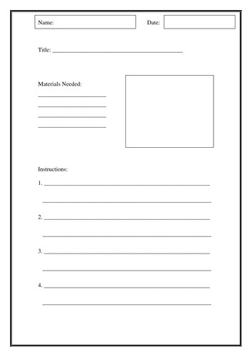 Writing Instructions Template Teaching Resources