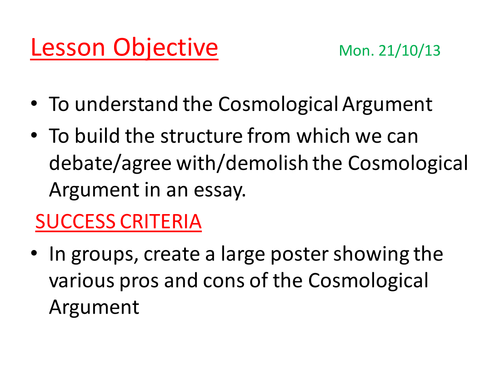 cosmological argument kalam by antoinettemarialouise teaching cosmological argument kalam by antoinettemarialouise teaching resources tes
