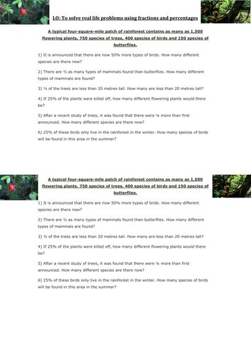 Rainforest percentage and fraction word problems