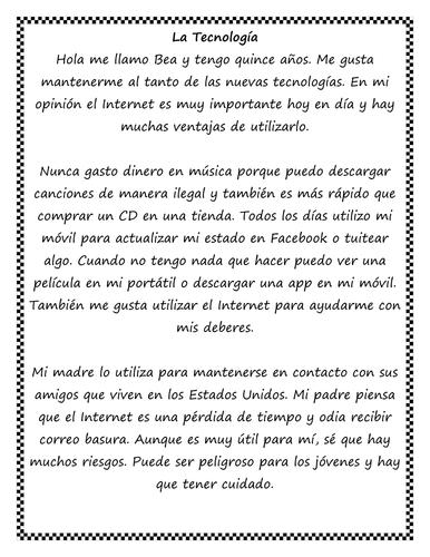 KS4 Spanish: Technology - Internet