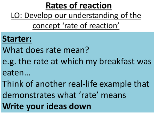 Rates of Reaction and Collision Theory for OCR C3 by daw58 – Rates of Reaction Worksheet