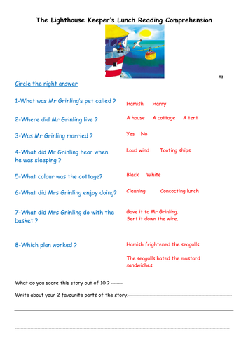 The Lighthouse Keeper's Lunch comprehension