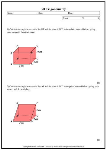 3d Trigonometry By Maffsy Teaching Resources Tes