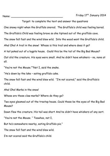 The Gruffalo  39 s Child Comprehension