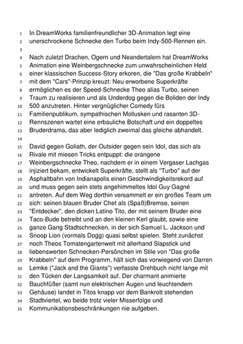 Tasks, authentic German review of Turbo