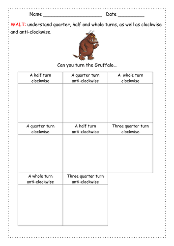 The Gruffalo Quarter Half And Whole Turns By Merryk2 Teaching